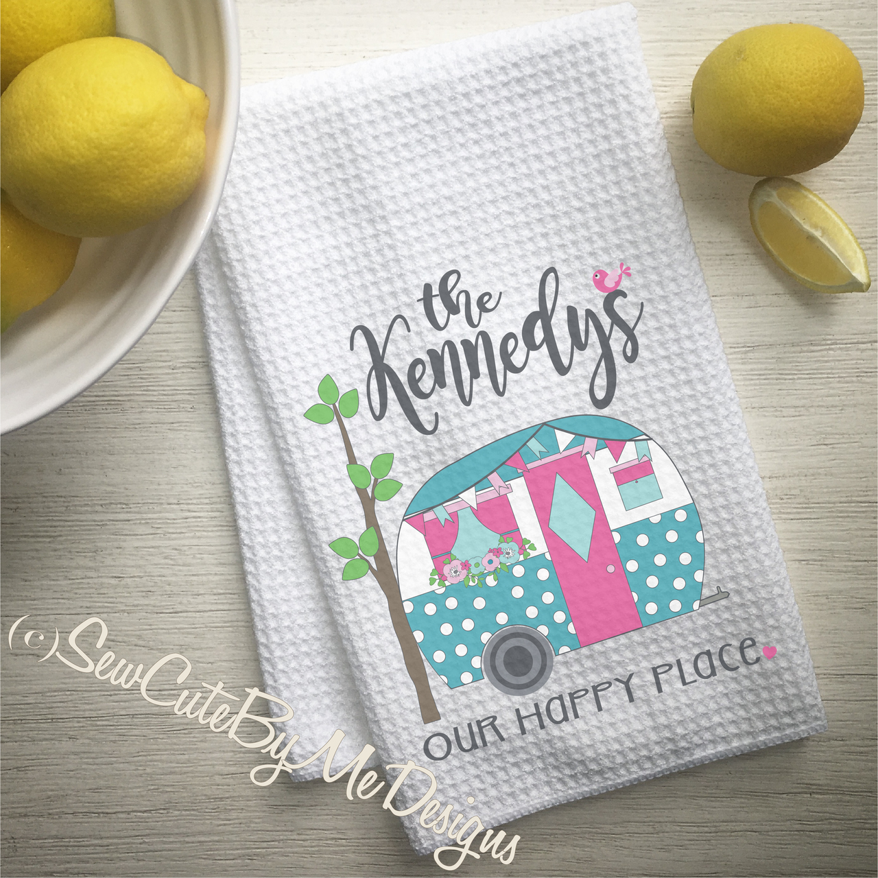 Personalized Camper Kitchen Towel - Personalized Camping Kitchen Towels - Our Happy Place - Aqua Pink