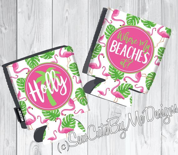 Graphics Beach Vacation Koozies or coolies - where my beaches at pink and green palm flamingo - flat
