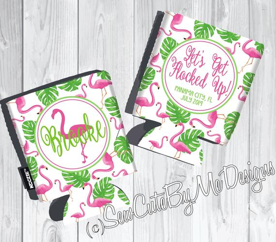 Graphics Beach Vacation Koozies or coolies - let's get flocked up flamingo koozies - flat
