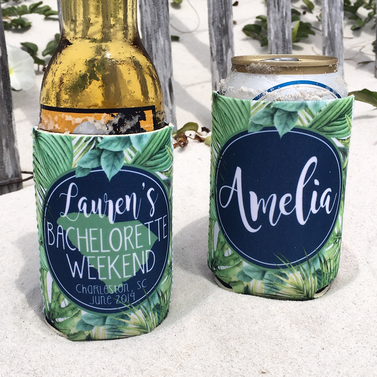 Bachelorette Party Beach Vacation KOOZIES® or Neoprene coolies - Tropical Palm Leaves - State