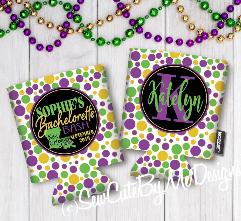 Mardi Gras New Orleans Bachelor Party Koozies or coolies - dots - state - graphics