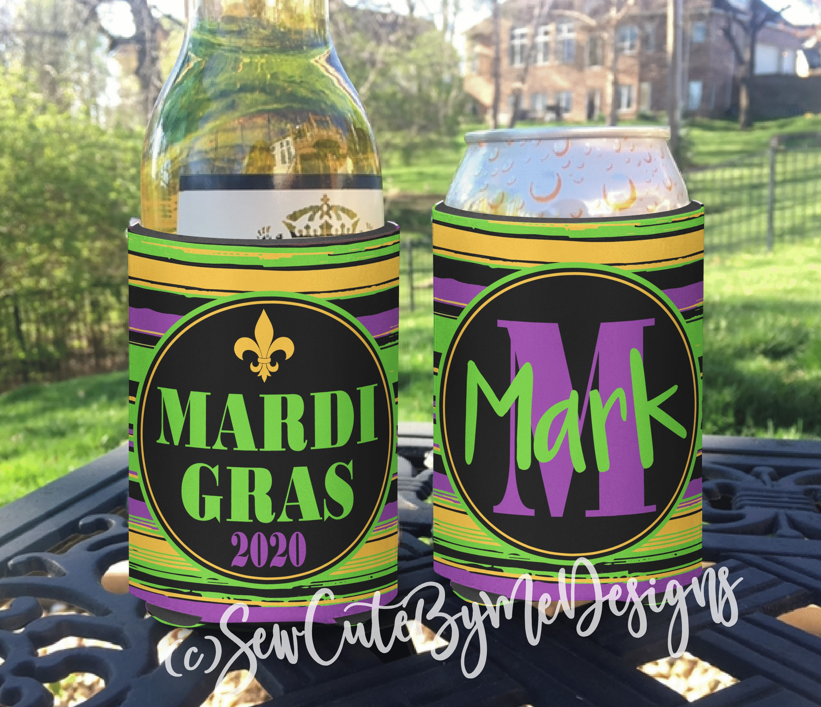 Mardi Gras Koozies or coolies - small stripes - New Orleans Vacation Koozies