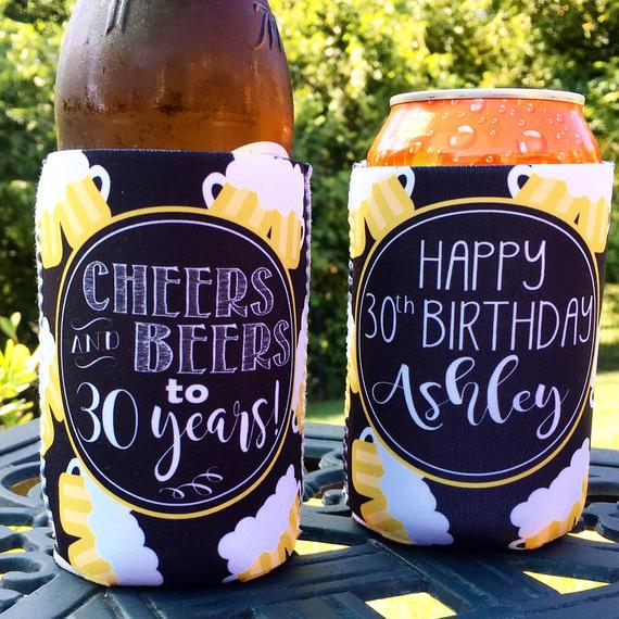 Cheers and Beers Can Koozies - Birthday