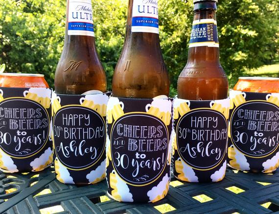 Cheers and Beers Can Koozies - Birthday Set