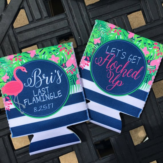 Beach Vacation Koozies or coolies - last flamingle let's get flocked up flamingo koozies - flat