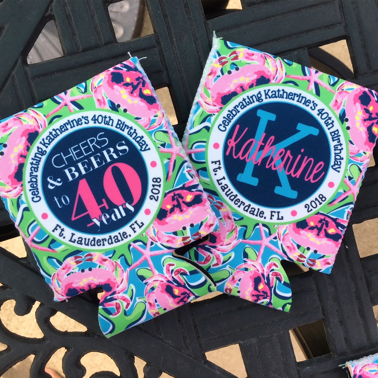 Cheers and Beers Birthday Beach Koozies - pink crabs - flat