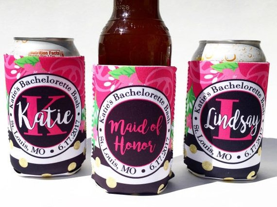 Bachelorette Koozies - floral with black stripes