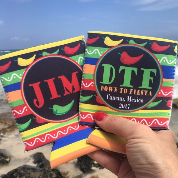 Beach Vacation Koozies or coolies - Mexico Koozies - DTF Down to Fiesta - flat