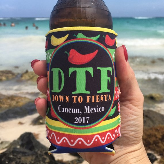 Beach Vacation Koozies or coolies - Mexico Koozies - DTF Down to Fiesta - hand