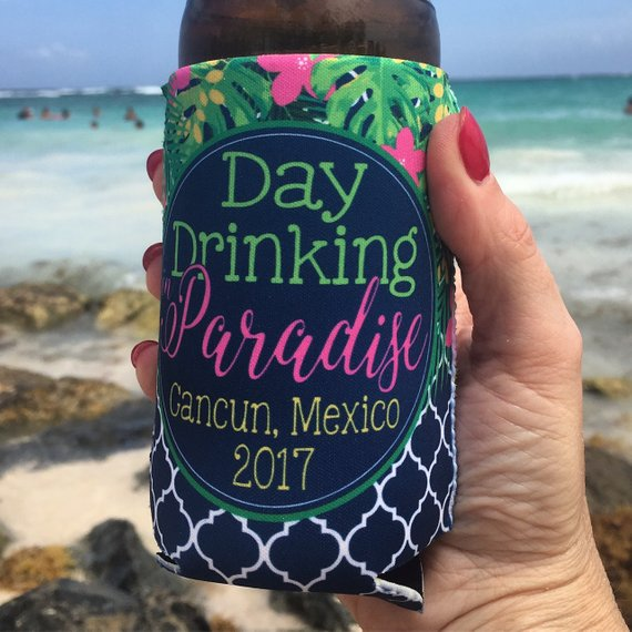 Beach Vacation Koozies or coolies - Mexico Koozies - Day Drinking in Paradise - hand