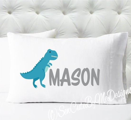 Personalized dinosaur pillowcase in teal and gray
