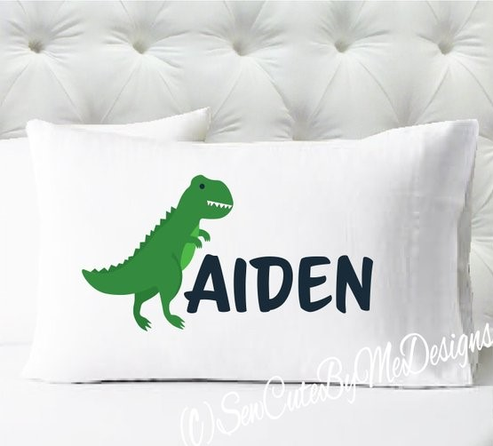 Personalized dinosaur pillowcase in green and navy