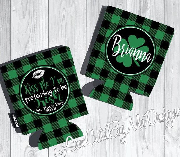 St. Patrick's Day Koozies or coolies - Kiss Me I'm Pretending to be Irish - graphics