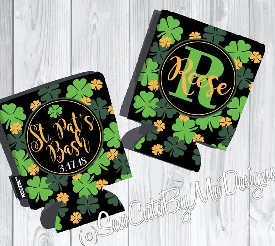 St. Patrick's Day Koozies or coolies - Shamrocks - graphics