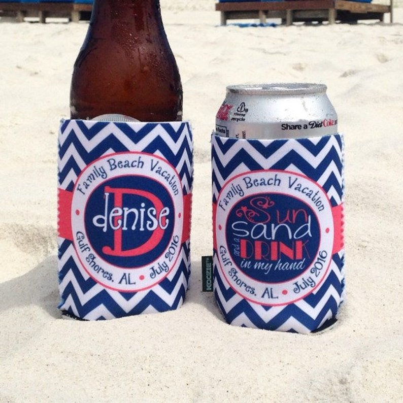 Beach Vacation Koozies or coolies - Sun Sand and a Drink in My Hand - Navy Coral Chevron