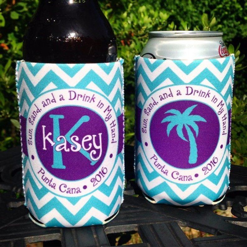Beach Vacation Koozies or coolies - Sun Sand and a Drink in My Hand - Aqua Purple Chevron
