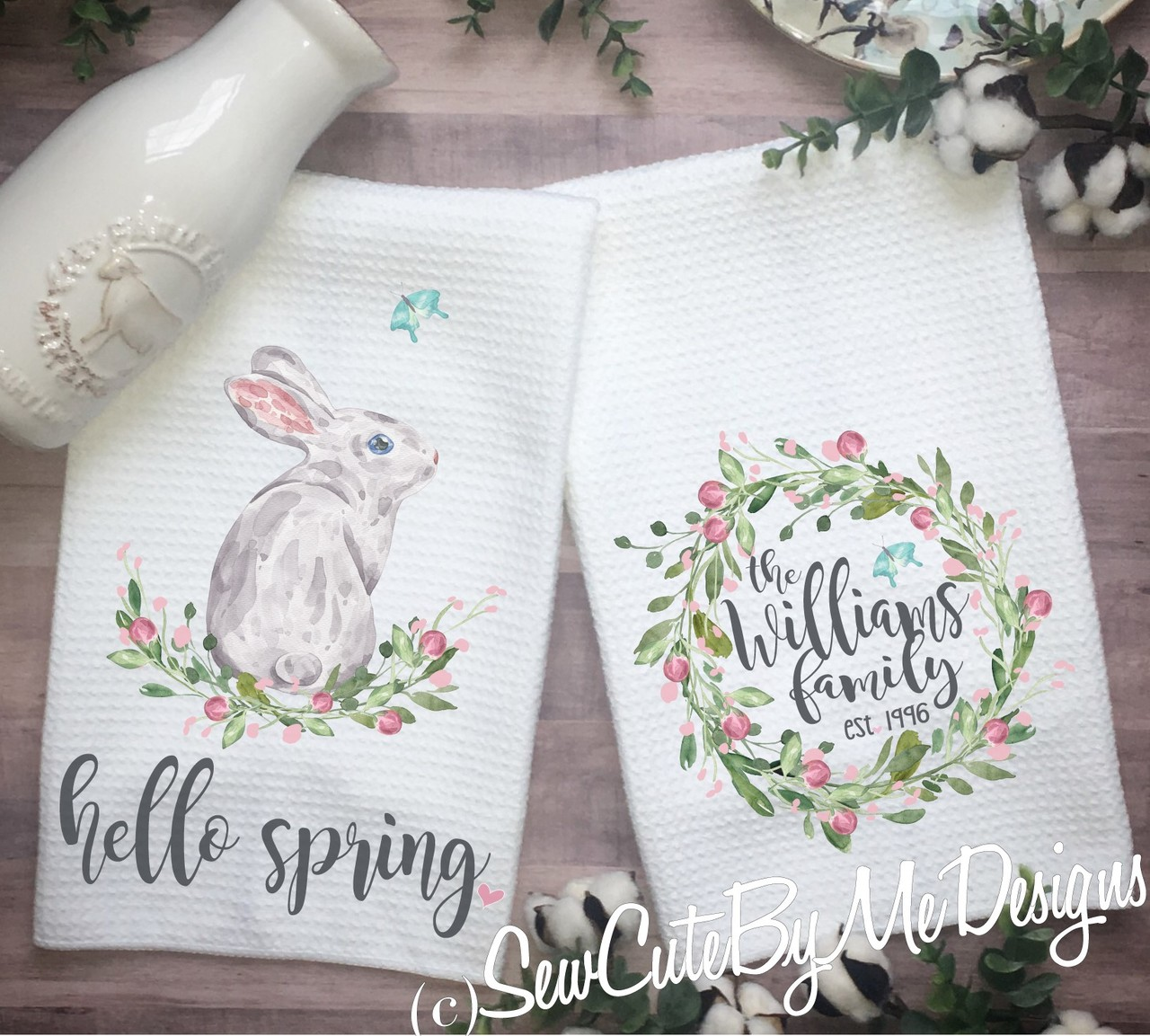 Personalized Spring Easter Bunny Kitchen Towels