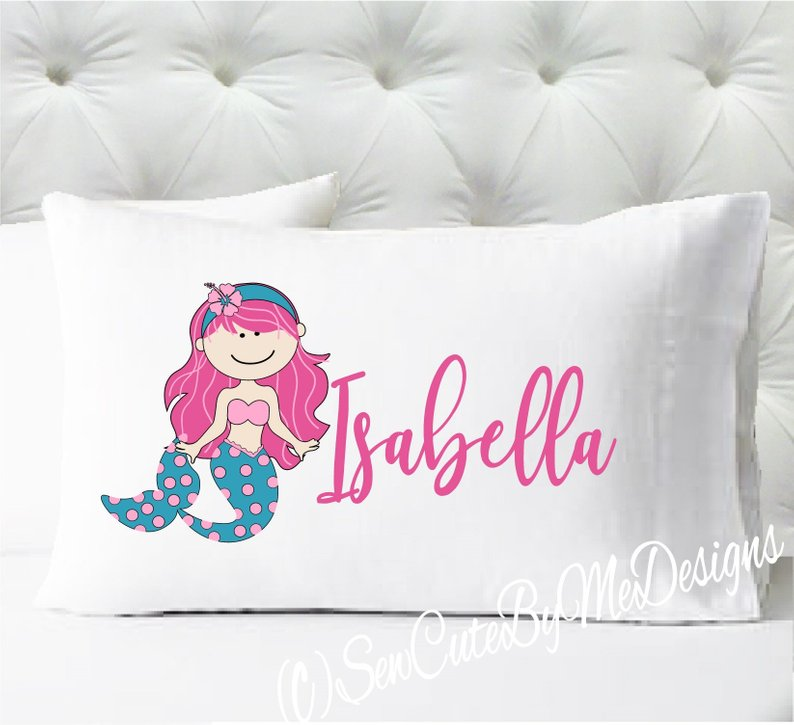 Mermaid Personalized girls standard size pillow case - Pink and Teal