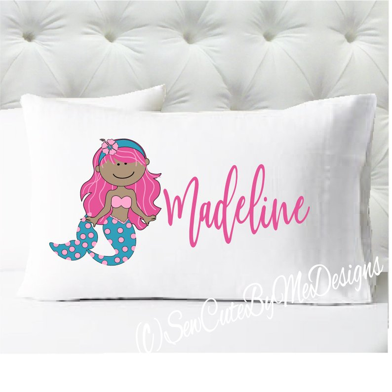 Mermaid Personalized girls standard size pillow case - Pink and Teal - medium skin