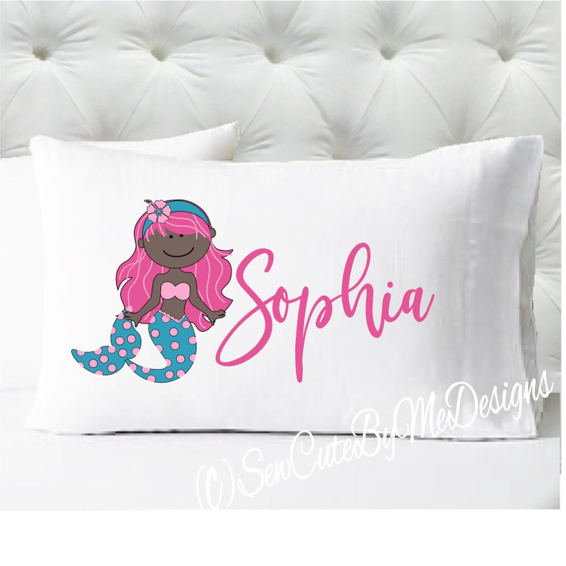 Mermaid Personalized girls standard size pillow case - Pink and Teal - dark skin