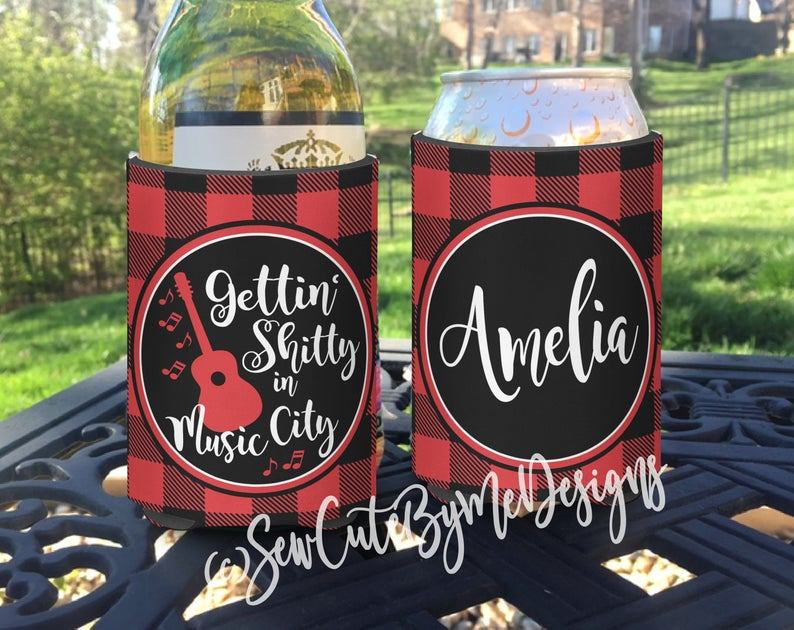 Bachelorette or Vacation KOOZIES® or Neoprene coolies - Personalized - Gettin Shitty in Music City - Buffalo Plaid
