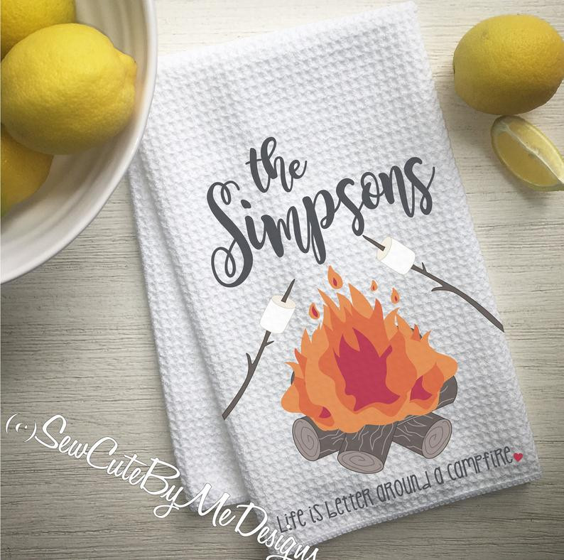 Personalized Campfire Camper Kitchen Towel - Camping Kitchen Towel - Life is Better Around a Campfire