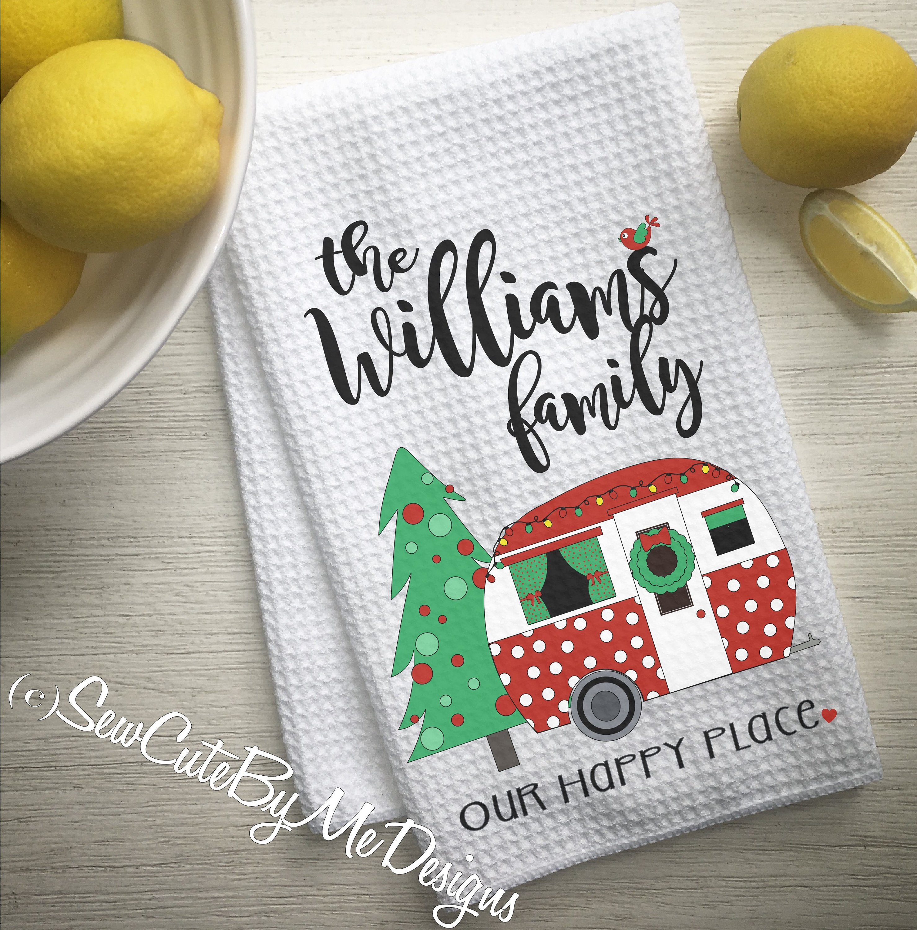 Personalized Christmas Camper Kitchen Towel - Camping Kitchen Towel