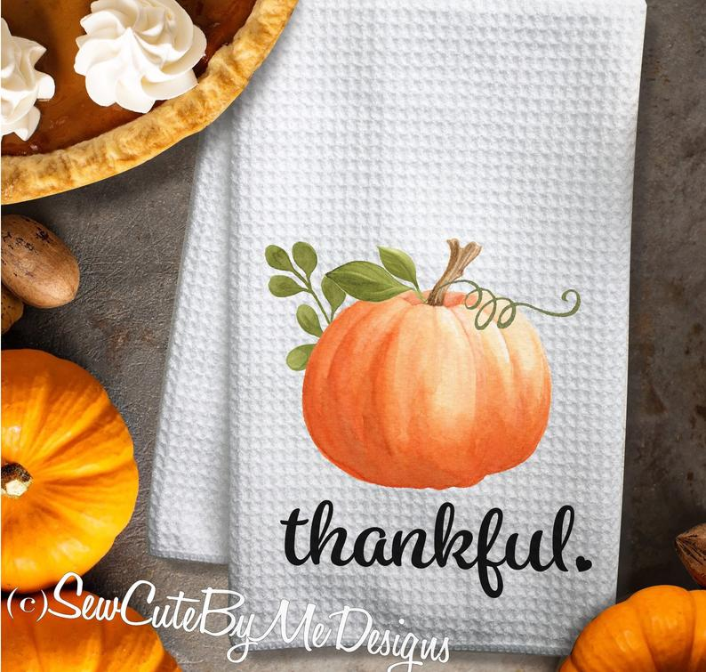 Watercolor Pumpkin Fall Kitchen Towel