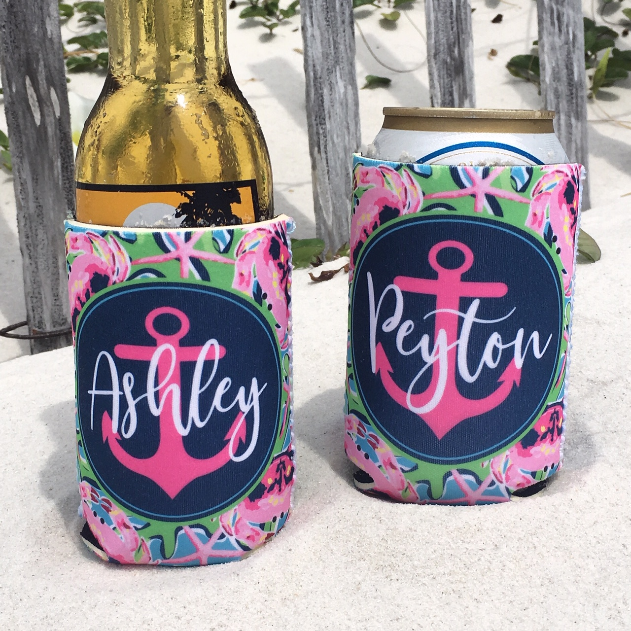 Beach Vacation Koozies or coolies - pink crabs - beach