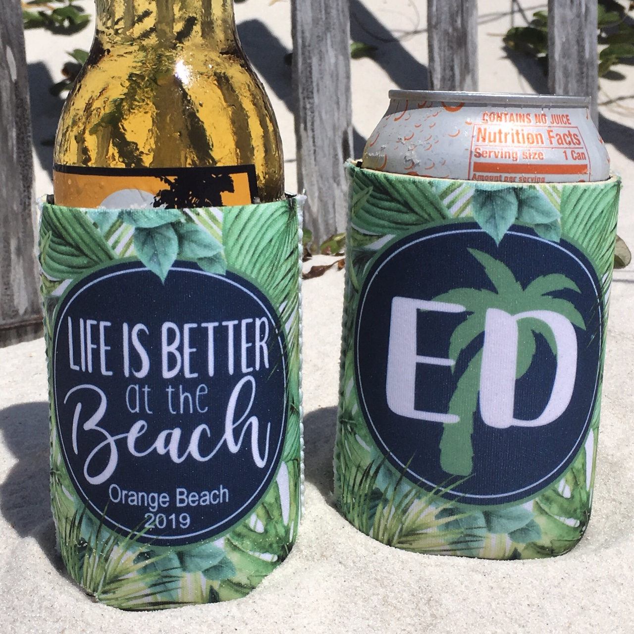 Beach Vacation Koozies or coolies - Life is Better at the Beach - print