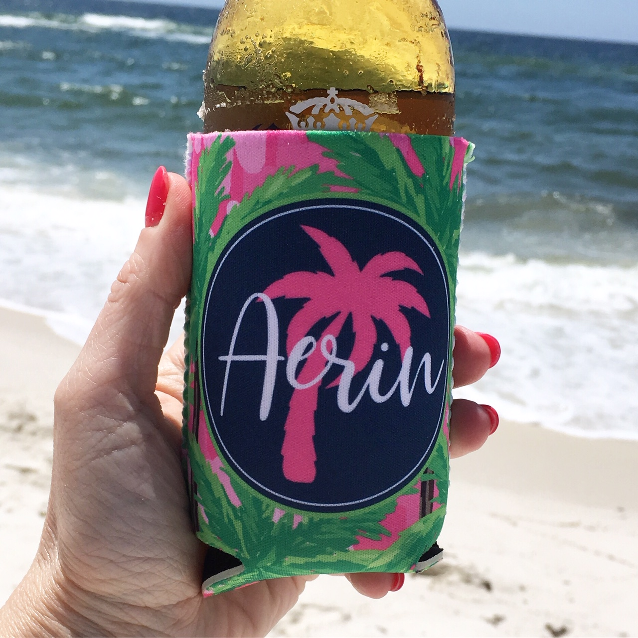 Beach Vacation Koozies or coolies - Life is Better at the Beach - pink palm trees - hand