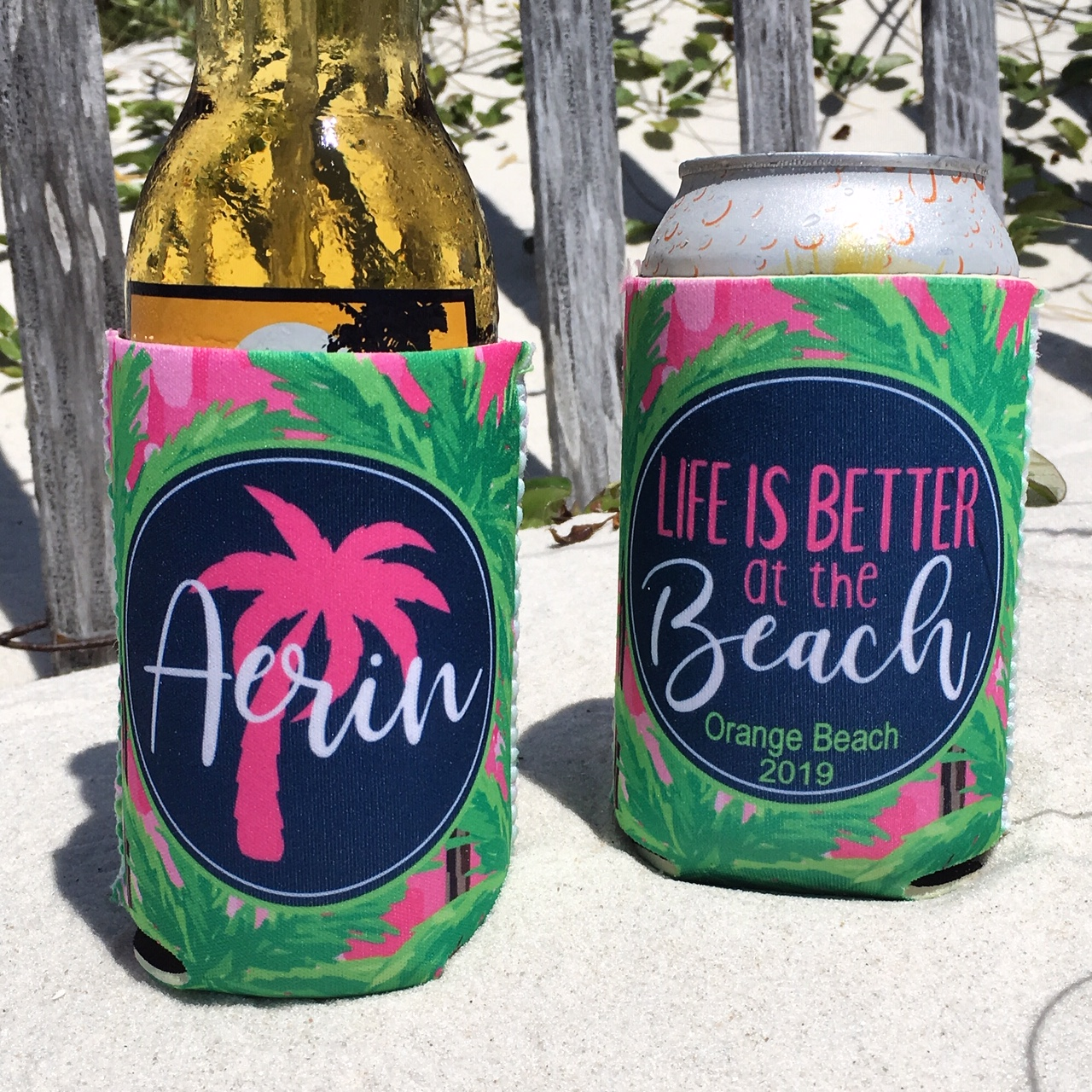 Beach Vacation Koozies or coolies - Life is Better at the Beach - pink palm trees
