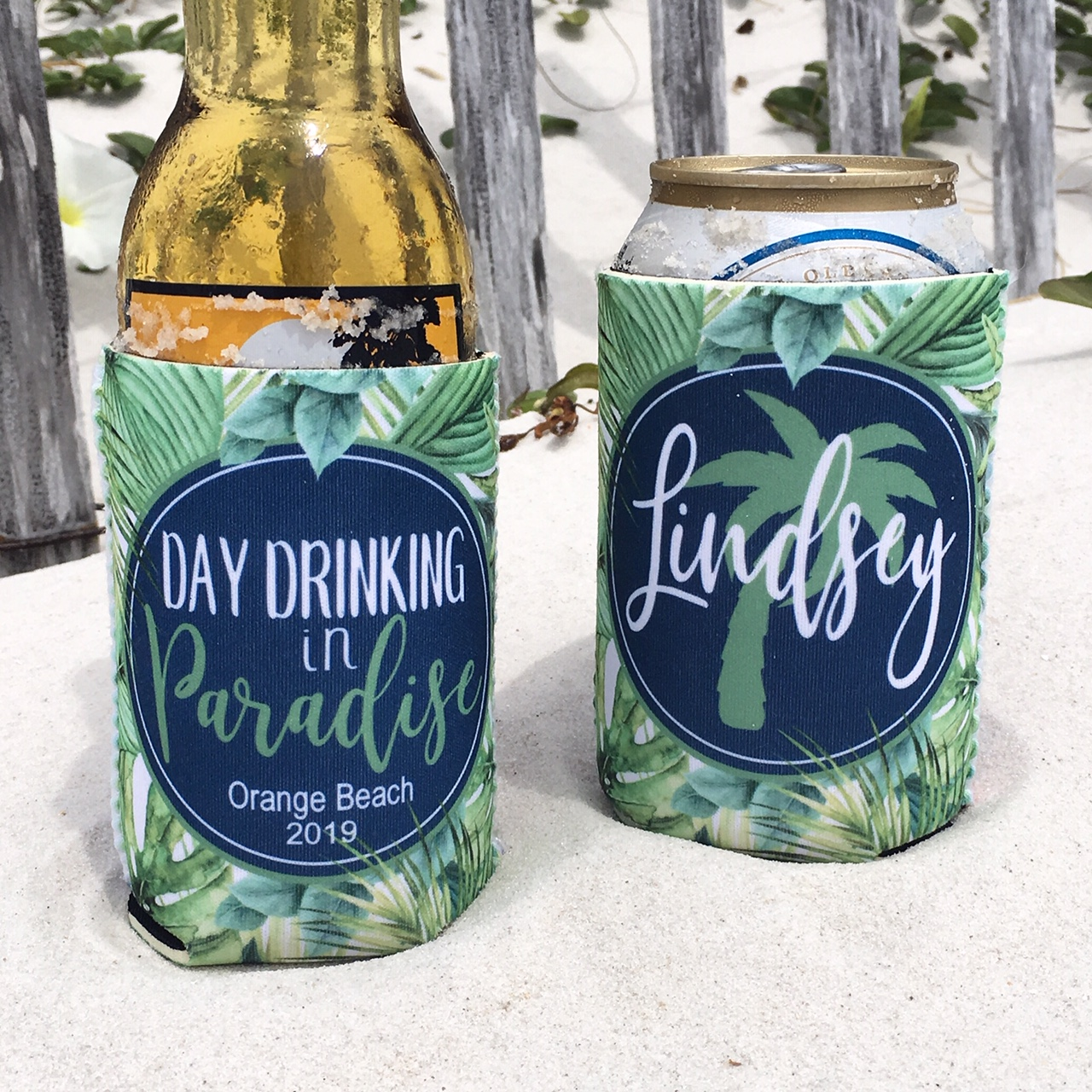 Beach Vacation Koozies or coolies - Day Drinking in Paradise - script