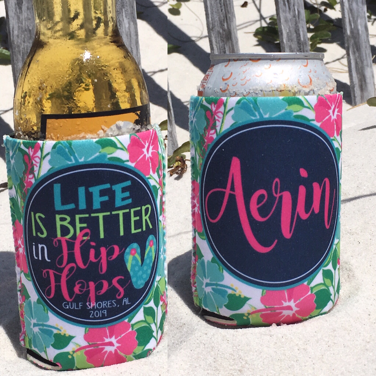 Beach Vacation Can Koozies - life is better in flip flops