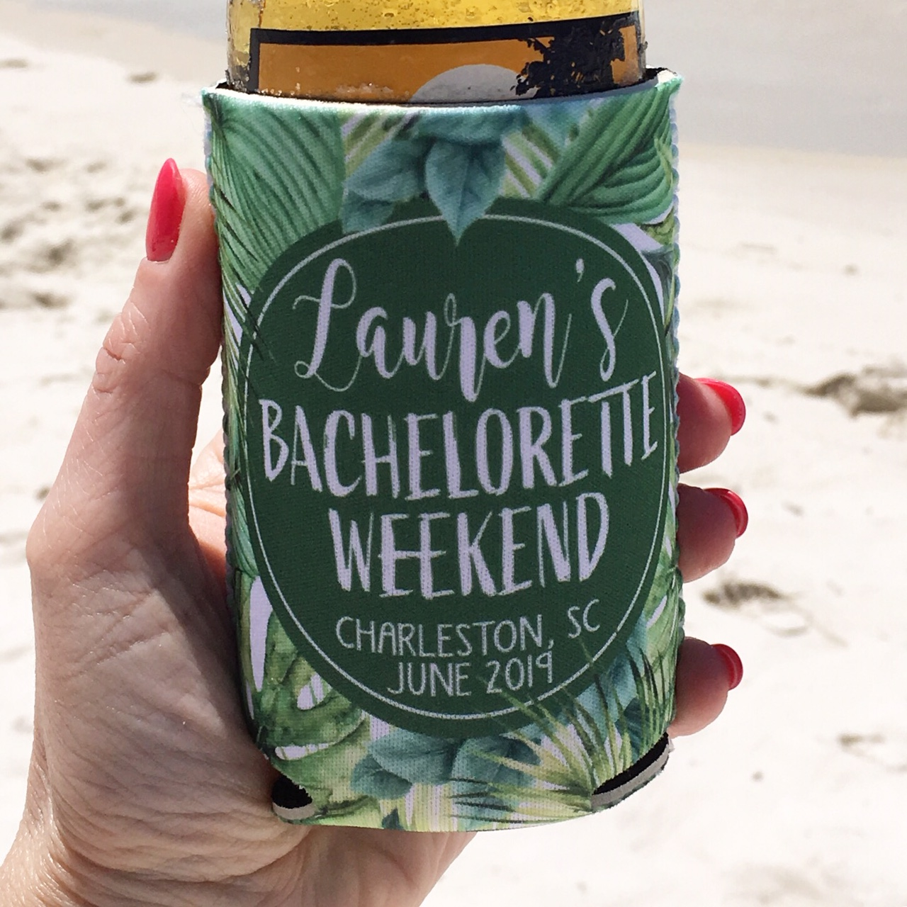 Beach Bachelorette Vacation Koozies or coolies - Tropical 2 - Hand