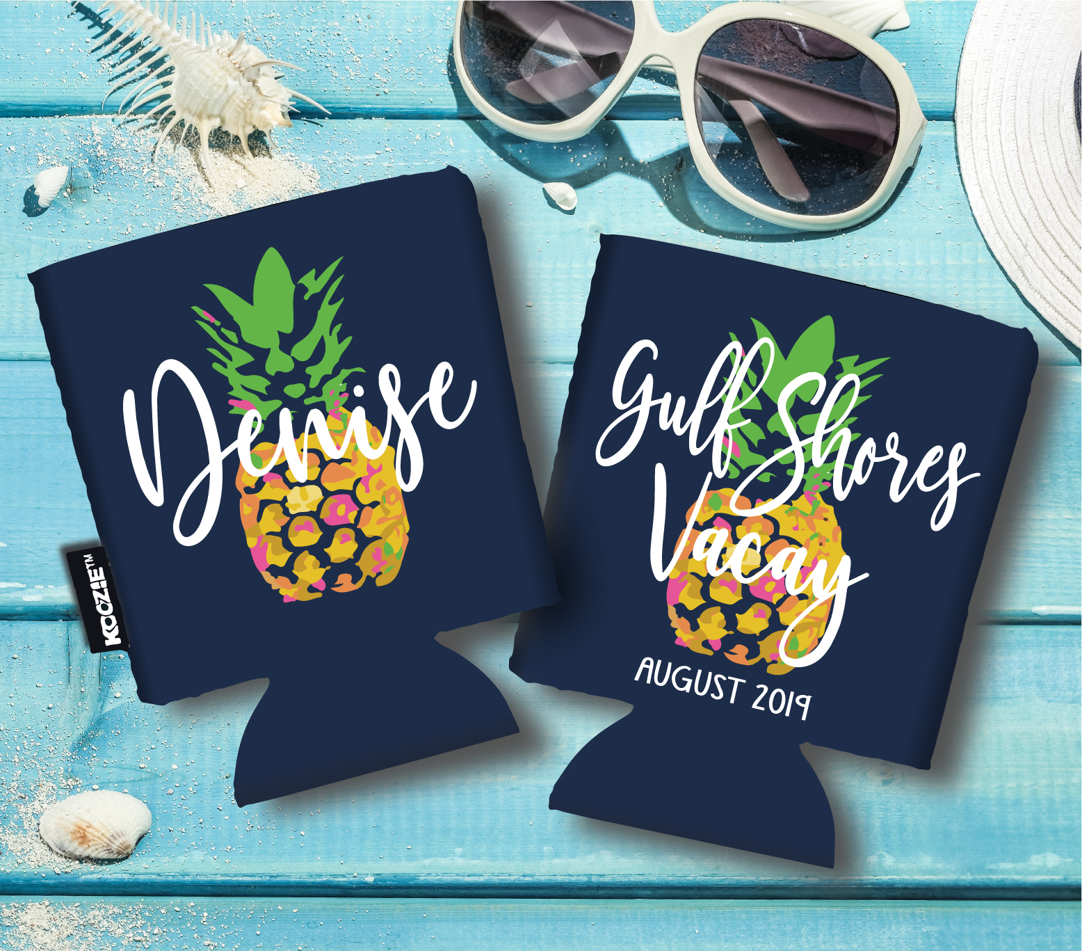 Personalized Beach Koozies - Pineapple - flat
