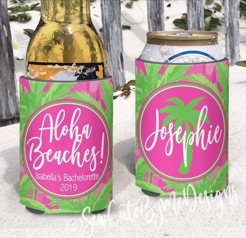 Beach Vacation Koozies or coolies - Aloha Beaches - dk hot pink palm trees