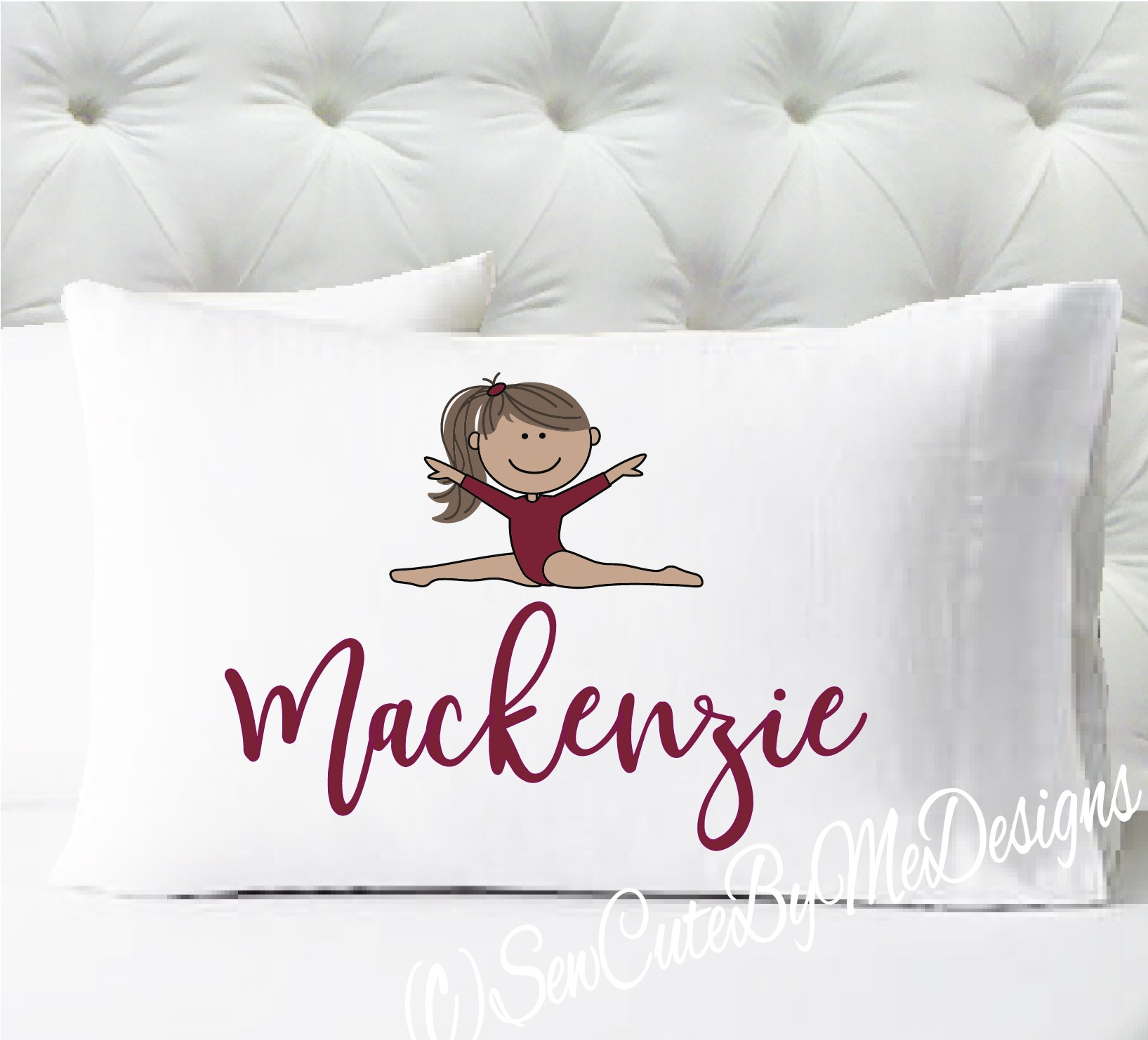 Gymnastics Personalized girls standard size pillow case - medium skin