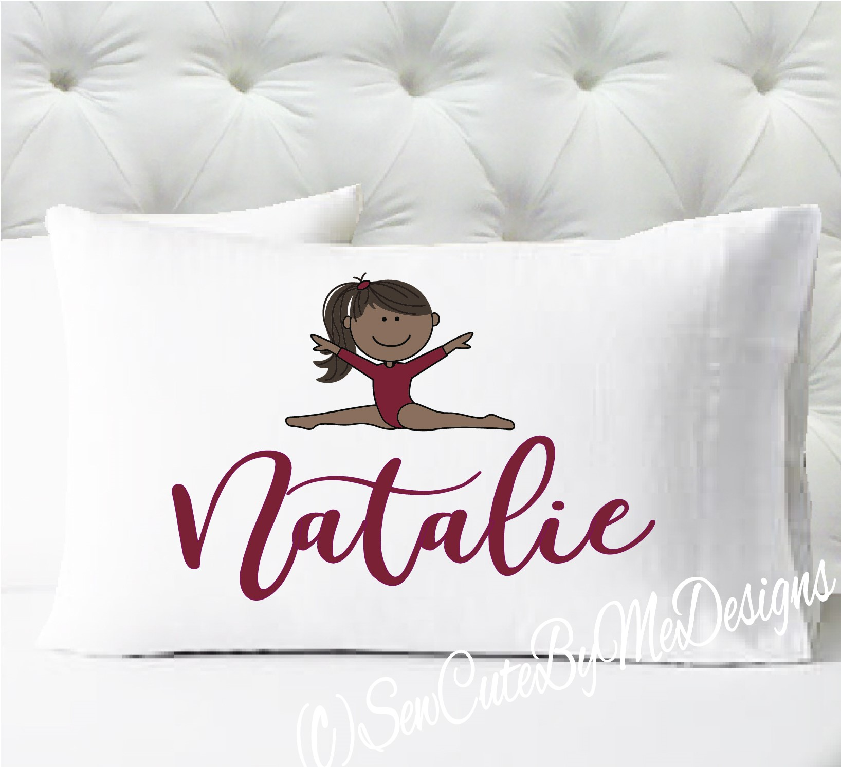 Gymnastics Personalized girls standard size pillow case - dark skin