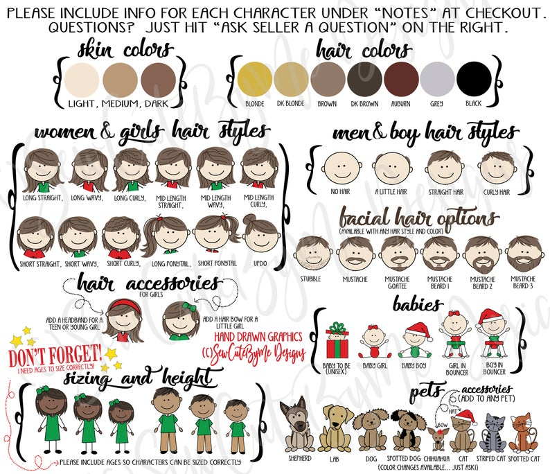 Family Ornament Character Choices - Hair and Skin Color
