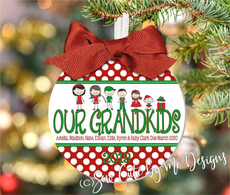 Polka Dot Christmas Ornament – Personalized Family Portrait Ornament with Our Grandkids