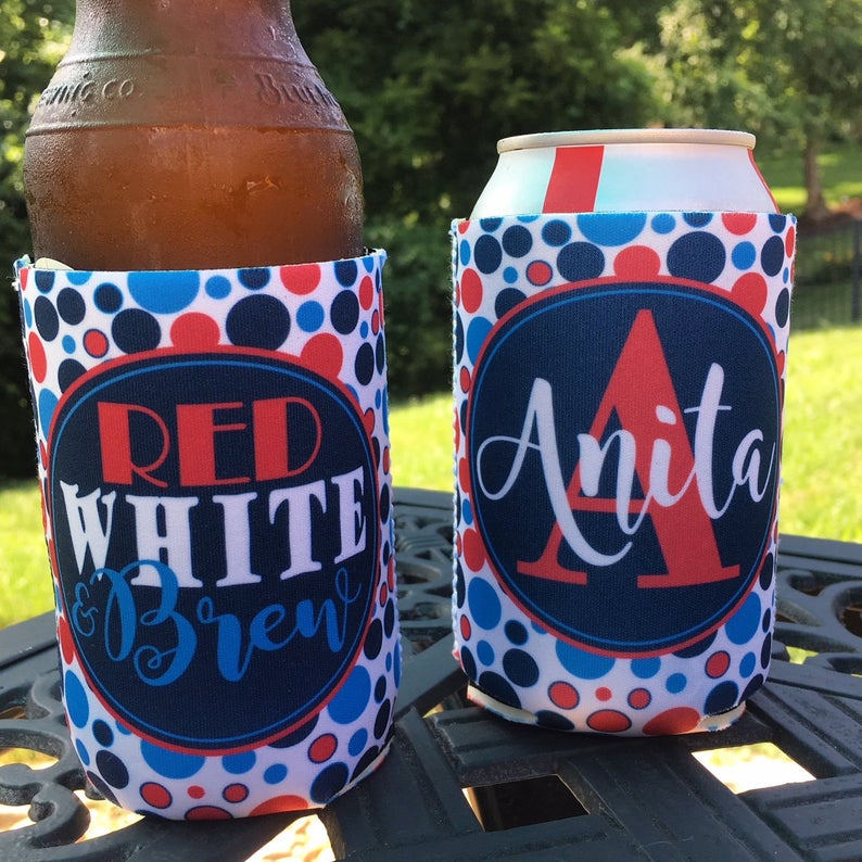 Personalized 4th of july koozies - red white and brew