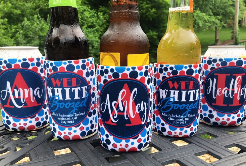 Personalized fourth of July bachelorette koozies - wed white and boozed