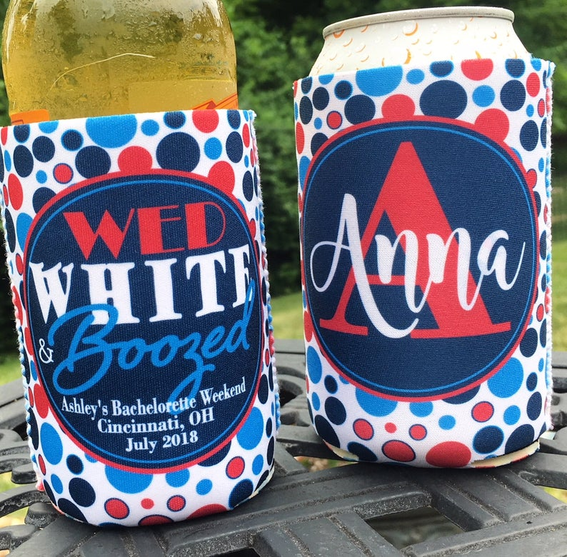 Personalized 4th of July bachelorette koozies - wed white and boozed