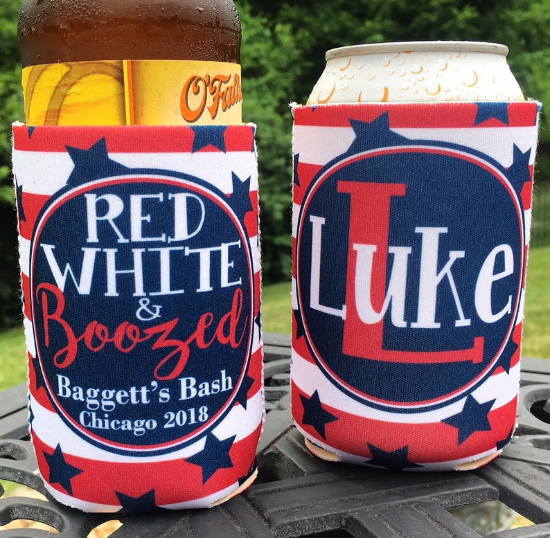 Personalized Fourth of July koozies - red white and boozed BBQ