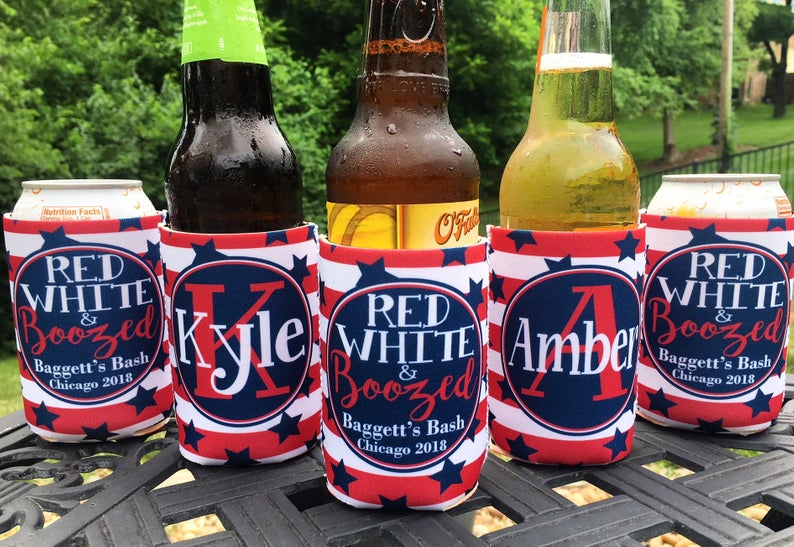 Personalized 4th of July koozies - red white and boozed BBQ