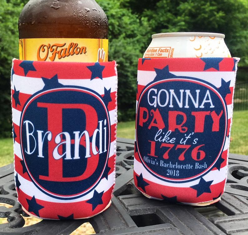 Personalized 4th of July koozies - party like it's 1776