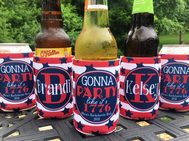 Personalized Fourth of July koozies - party like it's 1776