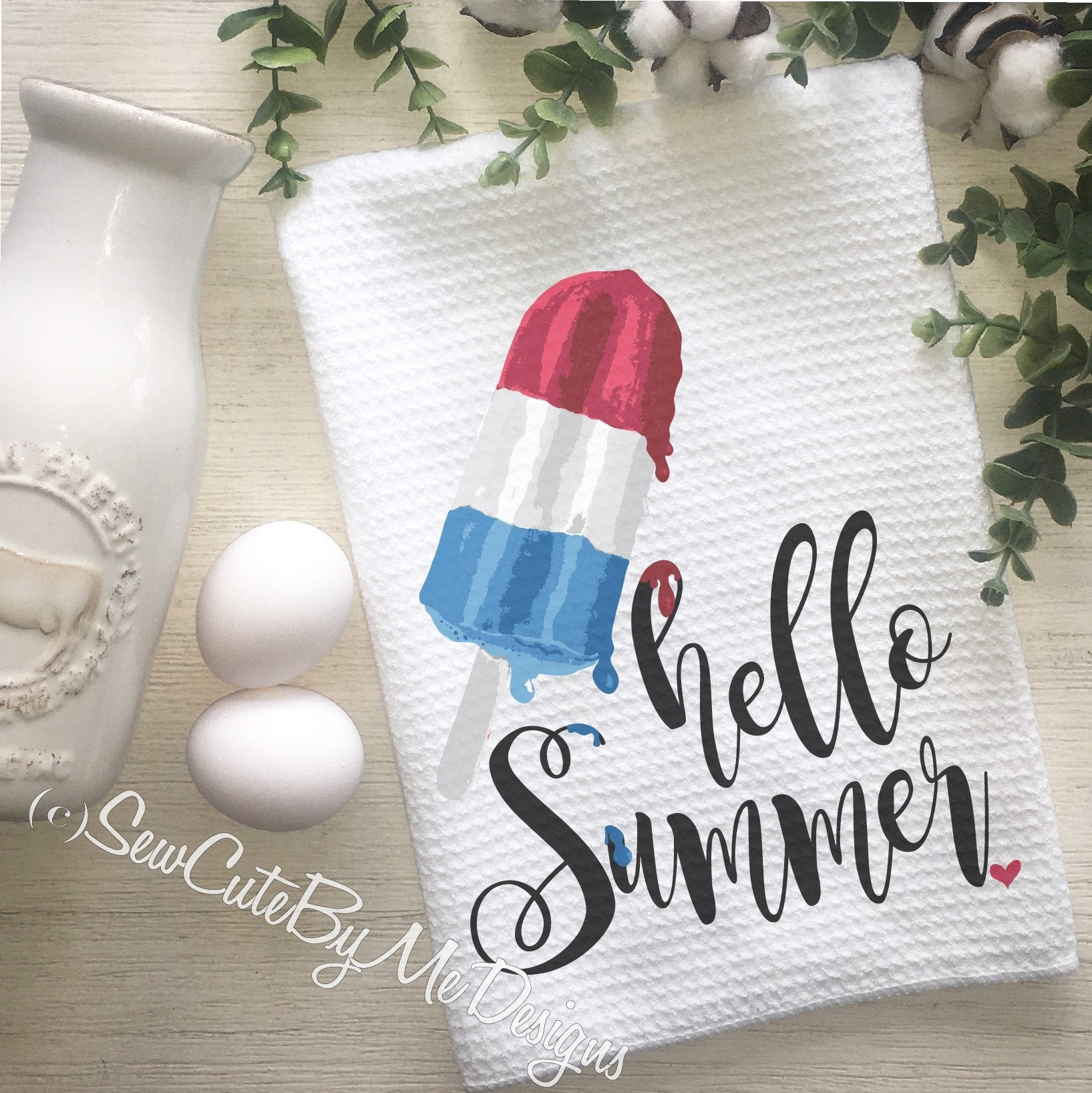Personalized Summer Kitchen Towel - Popsicle Kitchen Towel - Hello Summer
