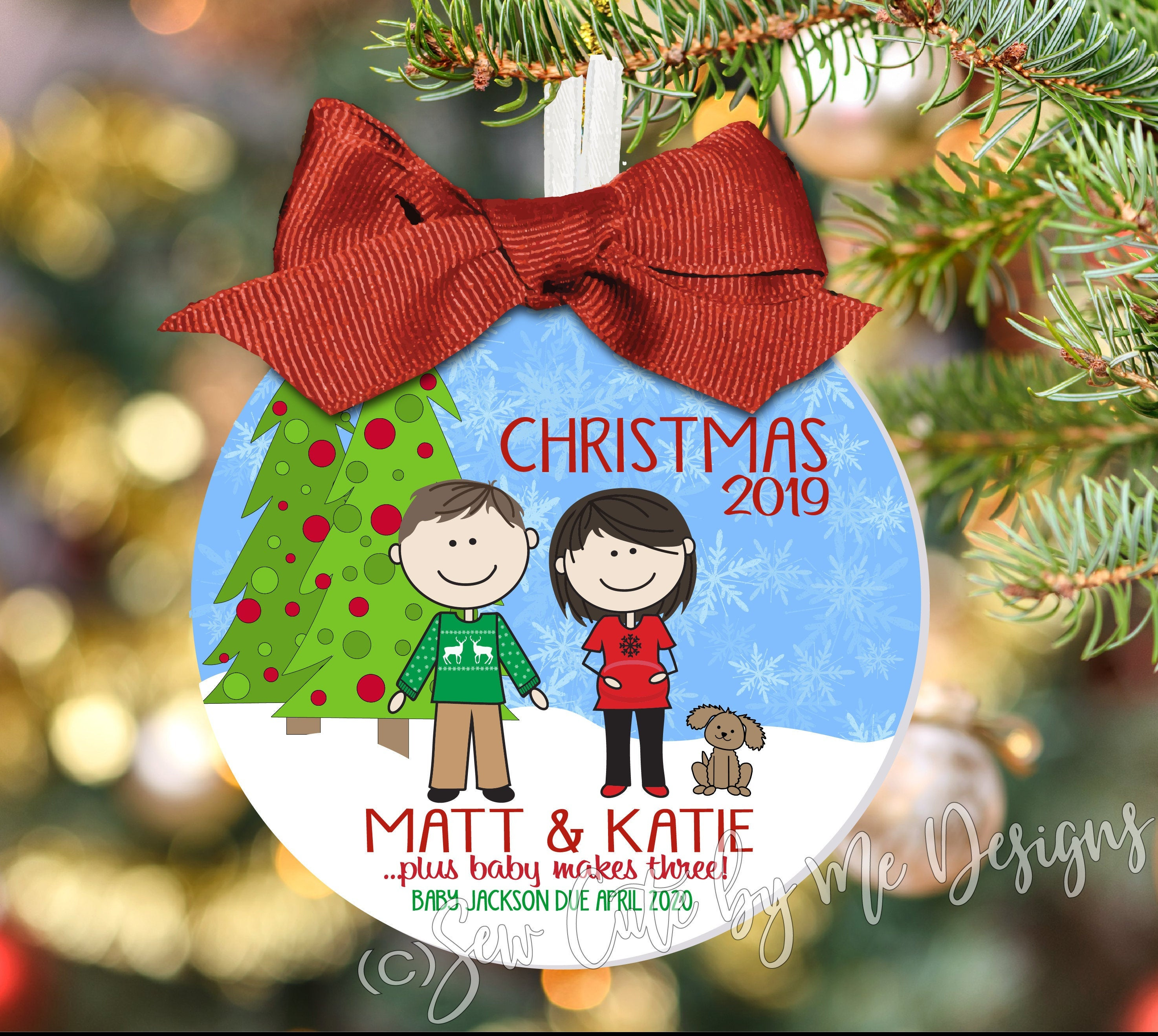We're Expecting Family Portrait Christmas Ornament Personalized with Characters, Names and Year